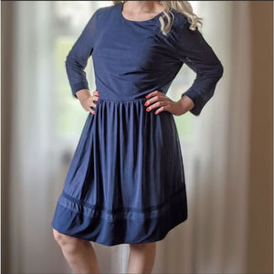 Navy Blue Dress with Sheer Long Sleeves